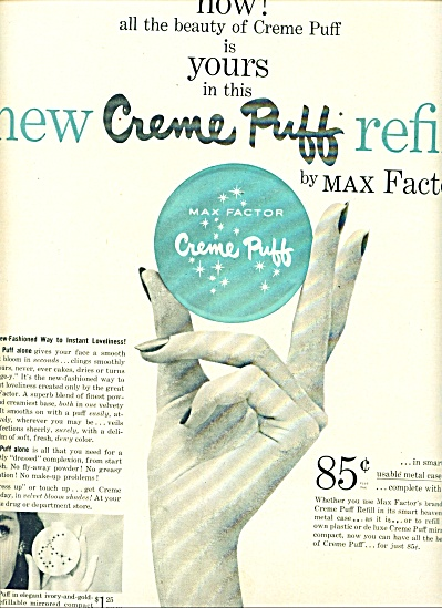 Creme puff refill by Max Factor ad 1955 (Image1)