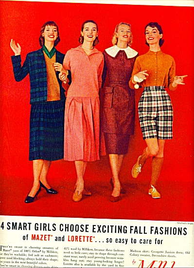 1955 Milliken Woolen FALL FASHION AD 4 MODELS (Image1)