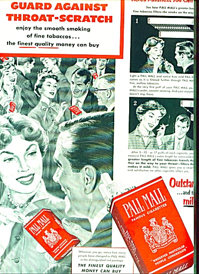 1953 Pall Mall Famous Cigarette Ad Throat Art