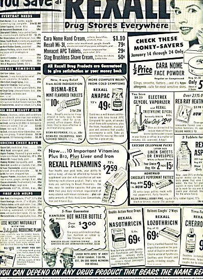 Rexall drug stores sales ad 1953 (Image1)
