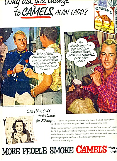 1953 Camels Cigarettes ads - ALAN LADD (Image1)