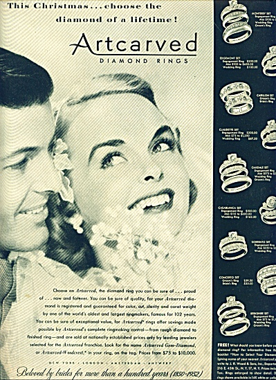 1952 Artcarved Diamond Ring AD Couple PIC (Image1)