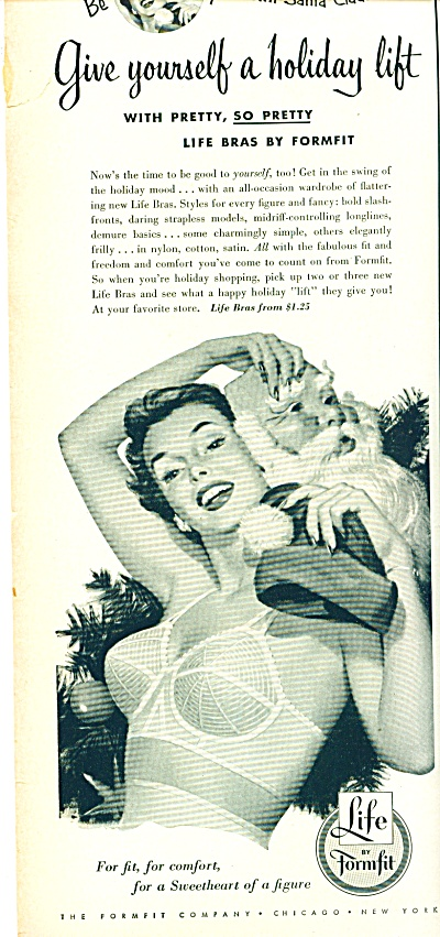 1952 Life By Formfit Bra Ad Pin Up Art Santa