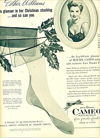 ee21aa62edf Bur Mil Cameo Stockings - Esther Williams Ad