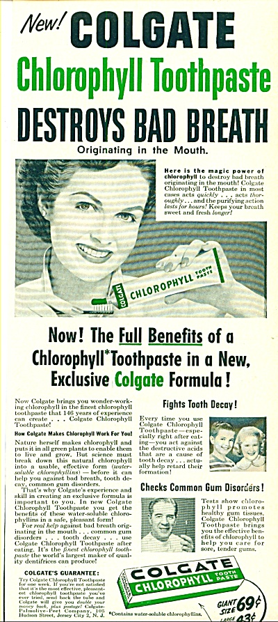 Colgate toothpaste with chlorophyll ad 1952 (Image1)