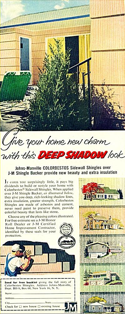 1956 Johns-Manville ASBESTO House Shingles AD (Image1)