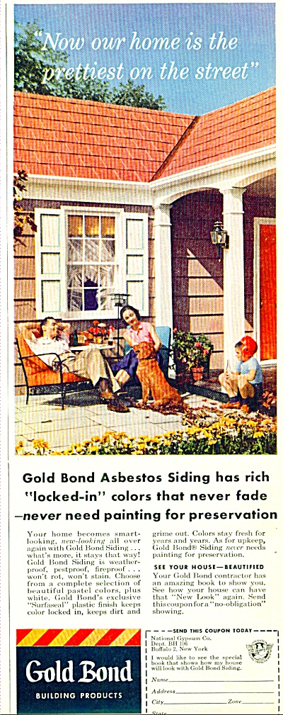 Gold Bond building products ad 1956 ASBESTOS (Image1)