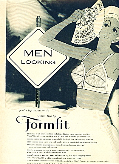 1959 Formfit Rave Bra Ad Men Looking Sign