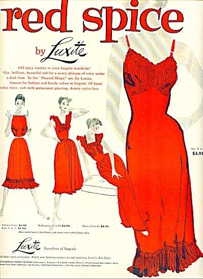 1954 Luxite Red Spice Lingeree Slip Ad