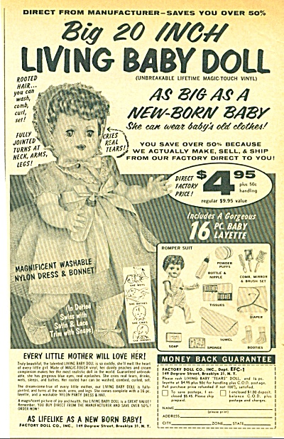 1958 LIVING BABY DOLL AD Magic-Touch Tears (Image1)