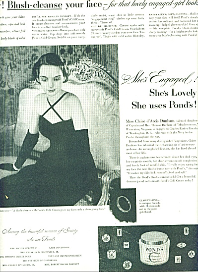 1947 Pond's cold cream AD Miss Claire Dunham (Image1)