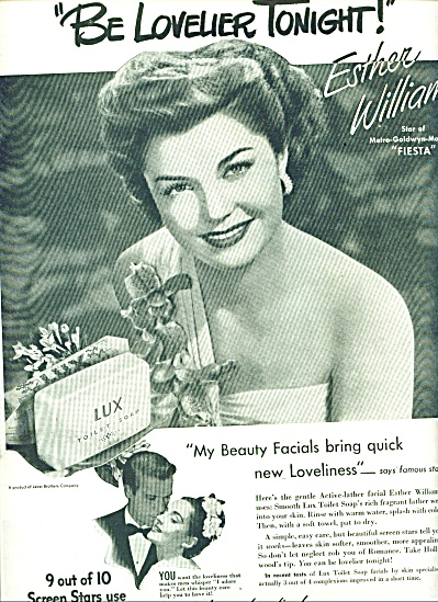 Lux Toilet Soap - Esther Williams Ad 1947