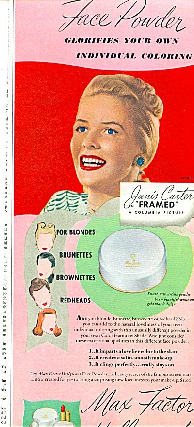 1947 Max Factor Hollywood AD -JANIS CARTER (Image1)