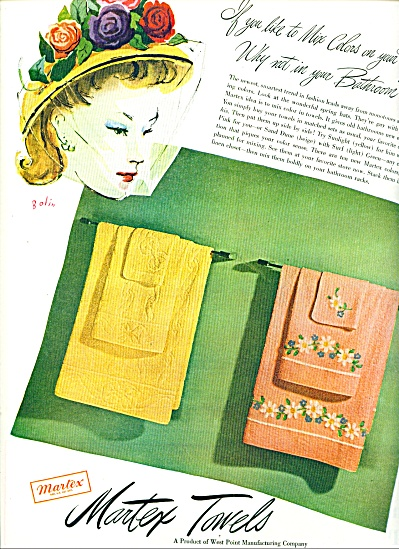 1947 Martex Towels Ad 1947 Bolin Art