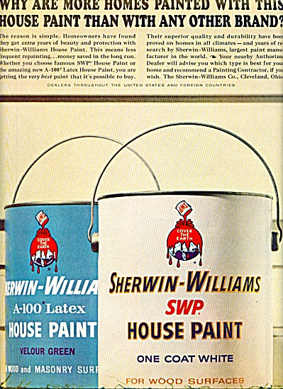 Sherwin-williams Swp House Paint Ad 1963