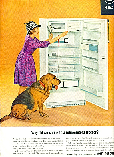 Westinghouse refrigerator ad 1963 HAT LADY AND DOG (Image1)