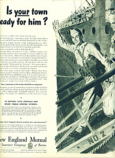 New England Life Insurance AD SAILOR COMES HO (Image1)