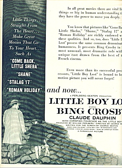 Movie Ad Promo Little Boy Lost - Bing Crosby Ad 1953