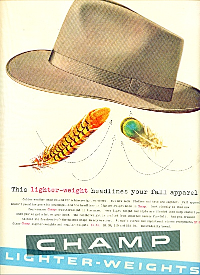 1953 Champ lighter-weights hats AD MENS (Image1)