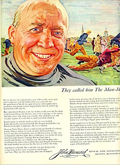1953 John Hancock AD - KNUTE ROCKNE ARTWORK (Image1)