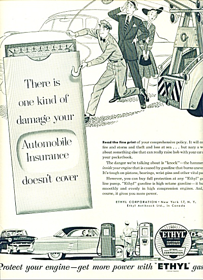 1953 Ethyl Gasoline AD Artwork PRINT CUTE (Image1)