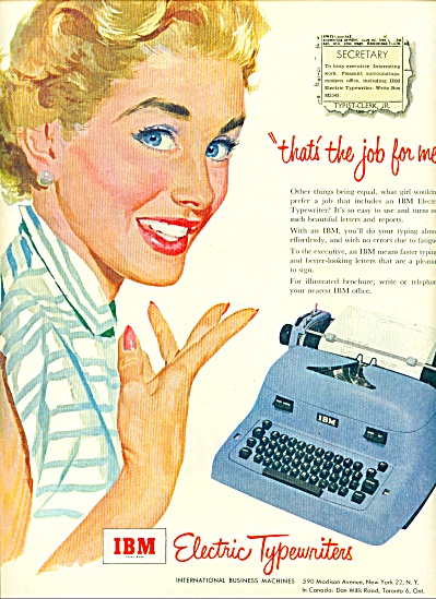 1953 IBM electric typewriters AD Woman Illust (Image1)