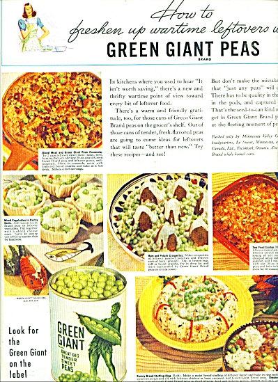 1944 GREEN GIANT  tender sweet peas AD RECIPE (Image1)