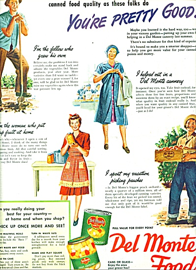 Del Monte foods , cans or glass ad 1944 (Image1)