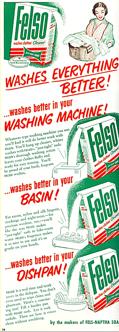 Felso washes clothes cleaner ad - 1952 (Image1)