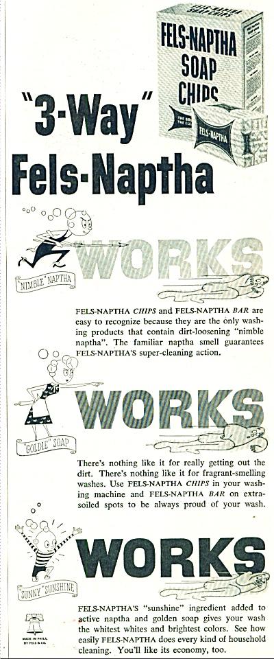 Fels Naptha soap chips ad 1952 (Image1)