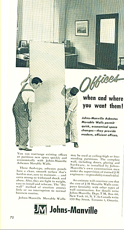 Johns-Manville Asbestos WALL AD for OFFICES (Image1)