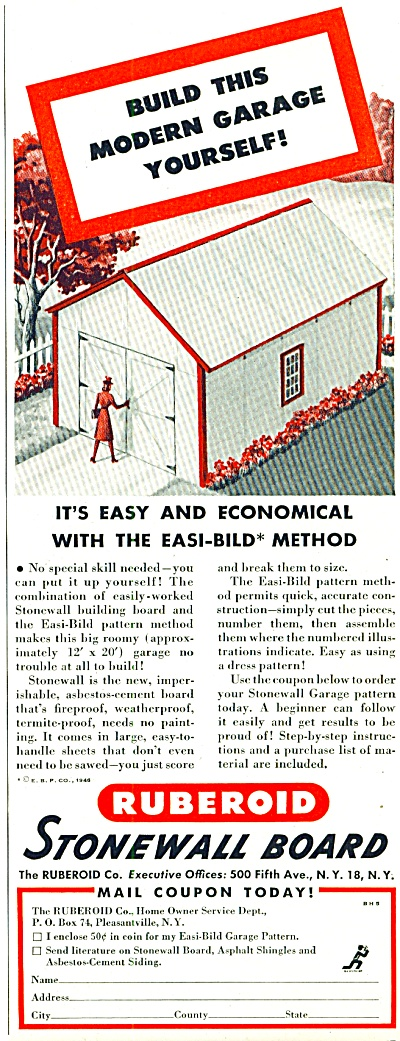 Stonewall board - Ruberoid ad ASBESTOS 1940s (Image1)