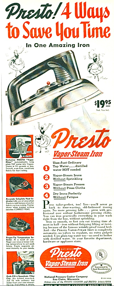 Presto vapor steam iron ad 1952 (Image1)