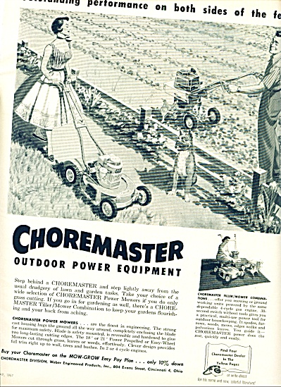 Choremaster outdoor power equipment 1957 (Image1)