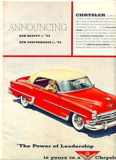 Chrysler automobile for 1954 ad (Image1)