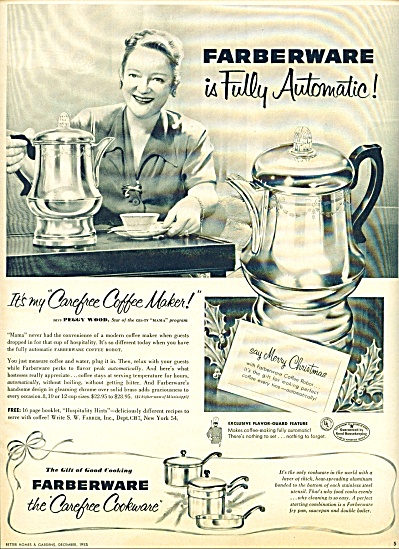 Farberware cookware - PEGGY WOOD  ad 1953 (Image1)