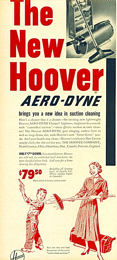 The New Hoover Aero-dyne Vacuum Ad 1950