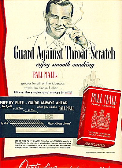 Pall Mall famous cigarettes ad 1950 (Image1)