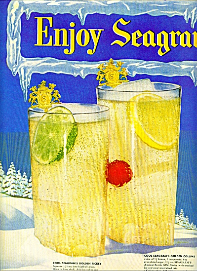 Seagram's Golden Coolers - Gin Ad 1950