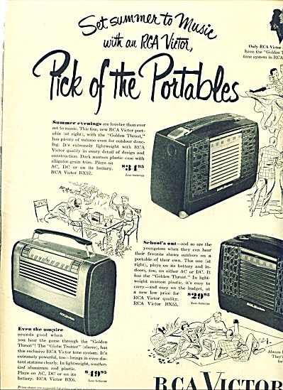 1950 RCA Victor Portable RADIO AD THREE MODEL (Image1)