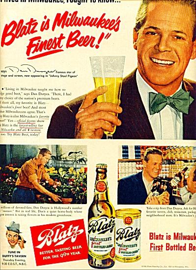 Blatz Beer - DAN DURYEA  ad 1950 (Image1)