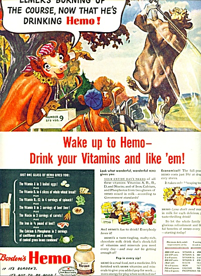 Borden's Hemo Vitamin Drink Ad 1944