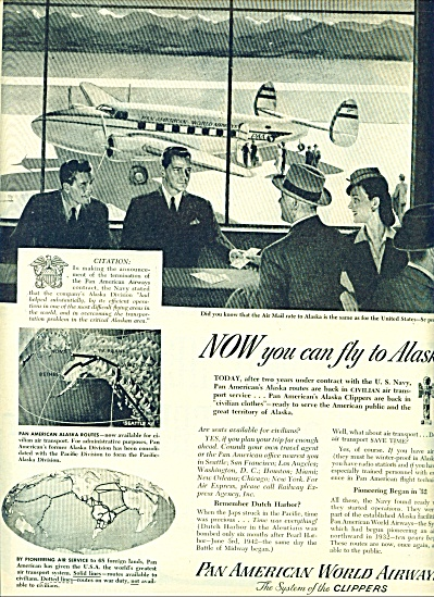1944 Pan American Airlines Ad Great Artwork