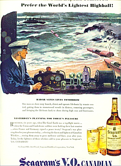 Seagram's V.o.canadian Whisky Ad 1944