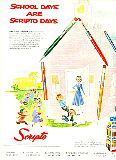 scripto pens, pencils, ball points ad 1957 (Image1)