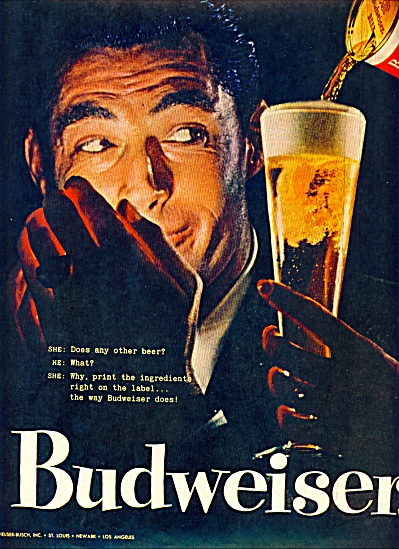 Budweiser Beer ad 1957 WHERE THERES LIFE (Image1)