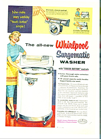 Whirlpool surgomatic washer ads  1954 (Image1)
