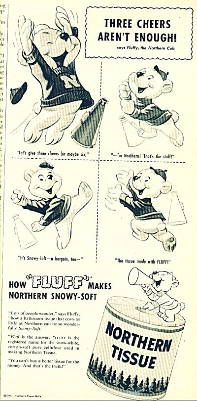 1951 Northern Tissue AD FLUFFY the CUB (Image1)