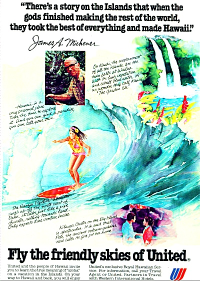 United Air Lines - Hawaii ad - JAMES MICHENER (Image1)