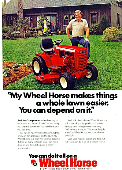 Wheel Horse Lawn Tractor Ad 1979